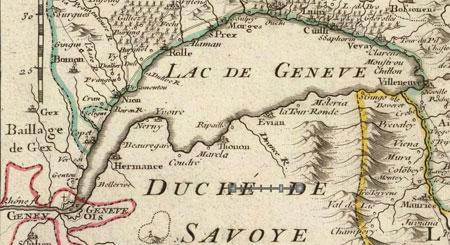 vieille carte du lac Léman