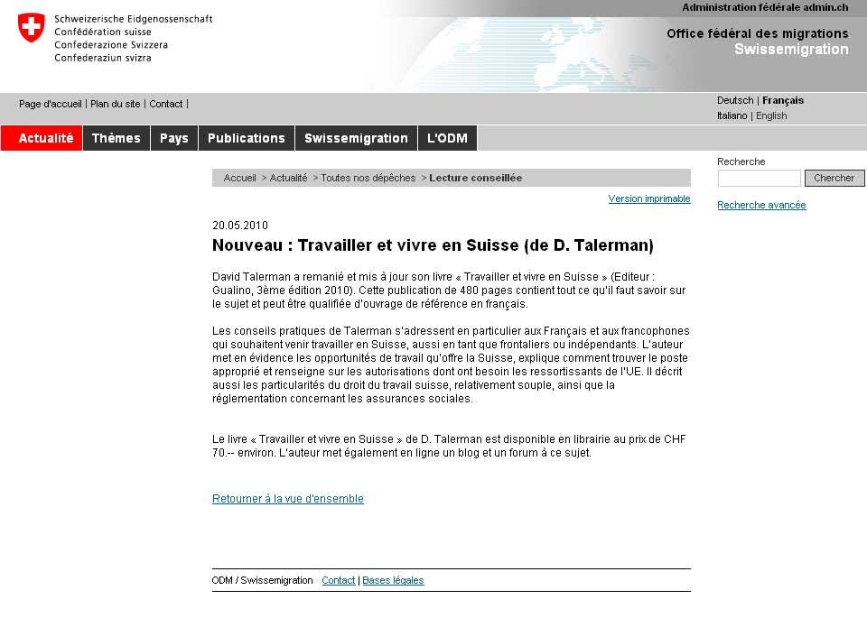 travailler et vivre en suisse   ouvrage de r u00e9f u00e9rence